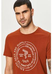 Brązowy t-shirt s.Oliver casualowy, z nadrukiem, na co dzień