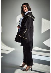 Czarne spodnie Moda Size Plus Iwanek casualowe, plus size, na wiosnę, z podwyższonym stanem