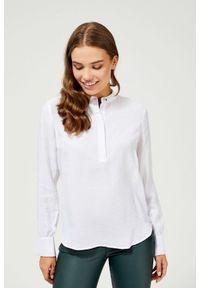 MOODO - Gładka koszula. Materiał: bawełna, wiskoza, poliamid. Długość rękawa: długi rękaw. Długość: długie. Wzór: gładki