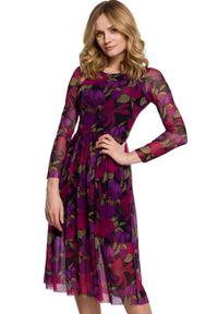Sukienka rozkloszowana, w kwiaty
