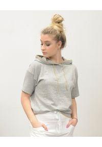 Deha - DEHA - Szara bluza z krótkim rękawem i kapturem. Kolor: szary. Materiał: bawełna, dzianina, prążkowany. Długość rękawa: krótki rękaw. Długość: krótkie