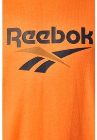 Pomarańczowa bluza nierozpinana Reebok Classic z okrągłym kołnierzem, casualowa