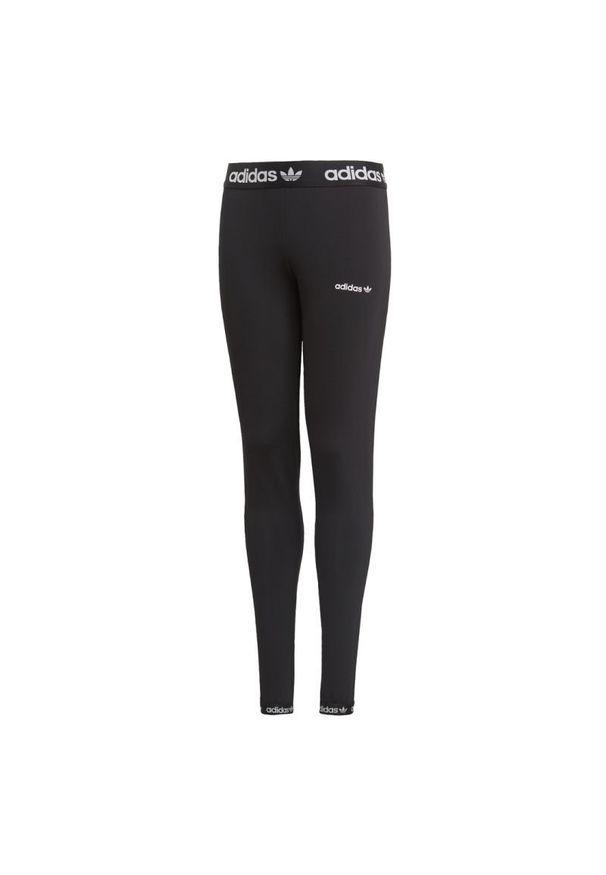 Czarne spodnie dresowe Adidas sportowe, w kolorowe wzory