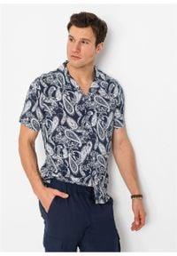 Koszula z krótkim rękawem Slim Fit bonprix biało-ciemnoniebieski paisley. Kolor: biały. Długość rękawa: krótki rękaw. Długość: krótkie. Wzór: paisley