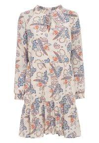 Sukienka z falban, z kołnierzem bonprix beżowo-niebieski paisley. Kolor: beżowy. Wzór: paisley