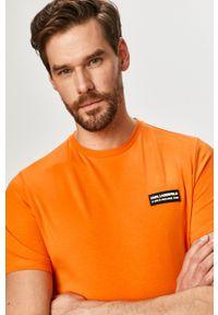 Karl Lagerfeld - T-shirt. Okazja: na co dzień. Kolor: pomarańczowy. Wzór: aplikacja. Styl: casual