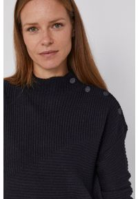 United Colors of Benetton - Sweter z domieszką wełny. Kolor: czarny. Materiał: wełna. Długość rękawa: długi rękaw. Długość: krótkie