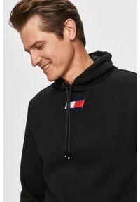 Czarna bluza nierozpinana Tommy Sport z aplikacjami, na co dzień, casualowa, z kapturem