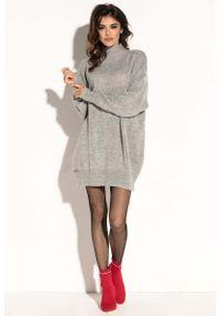Fobya - Szara Swetrowa Mini Sukienka z Półgolfem. Kolor: szary. Materiał: moher, akryl. Długość: mini