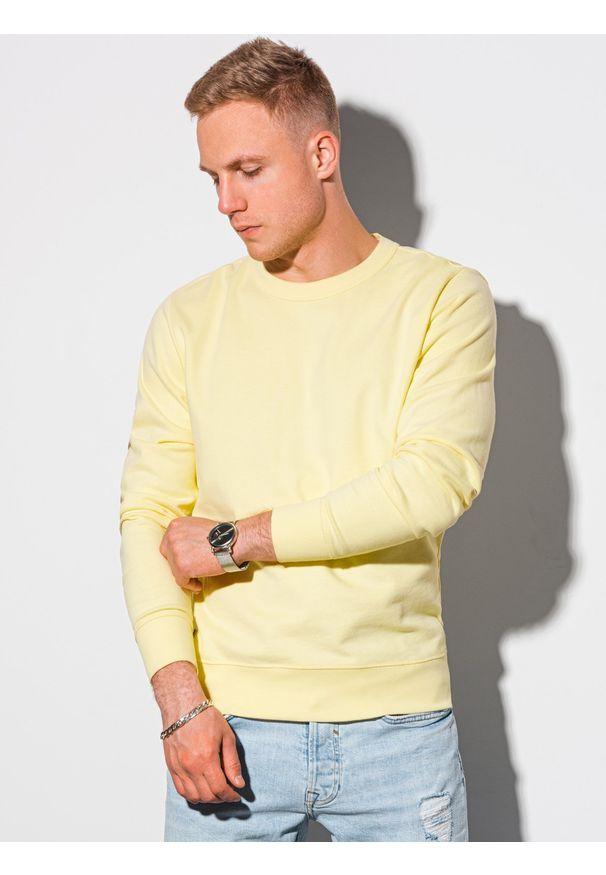 Ombre Clothing - Bluza męska bez kaptura bawełniana B1146 - żółta - XXL. Typ kołnierza: bez kaptura. Kolor: żółty. Materiał: bawełna. Styl: klasyczny, elegancki