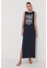 Emporio Armani - Sukienka. Okazja: na co dzień. Kolor: niebieski. Materiał: dzianina. Wzór: nadruk. Typ sukienki: proste. Styl: casual