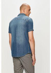 Niebieska koszula Jack & Jones gładkie, krótka, na co dzień