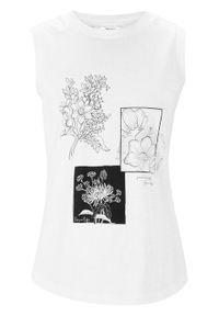 Top shirtowy z nadrukiem bonprix biały w roślinne motywy. Kolor: biały. Materiał: bawełna. Wzór: nadruk