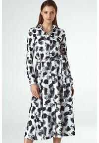 Sukienka midi, z długim rękawem