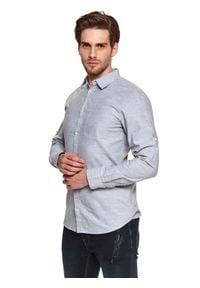 TOP SECRET - Koszula z miękkiej tkaniny. Kolor: szary. Materiał: tkanina. Długość rękawa: długi rękaw. Długość: długie. Sezon: lato