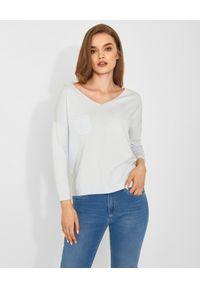 Biały sweter z długim rękawem, długi, do pracy, casualowy