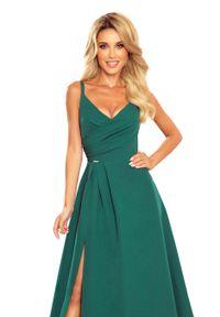 Zielona sukienka wieczorowa Numoco na ramiączkach, maxi, z kopertowym dekoltem, kopertowa
