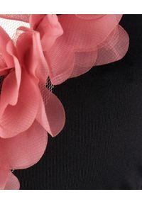 LA REVECHE - Trójkątny Top od bikini Jamila. Kolor: czarny. Materiał: tkanina, szyfon. Wzór: kwiaty, aplikacja