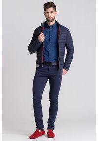 Niebieska koszula Trussardi Jeans na co dzień, na lato, biznesowa, z nadrukiem