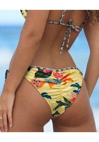 DEL MAAR - Dół od bikini Namaka. Kolor: żółty. Wzór: kwiaty, haft