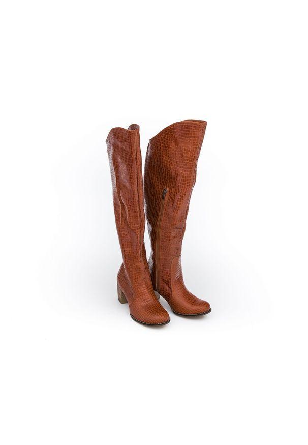 Brązowy kozaki Zapato z cholewką za kolano, wąskie, w kolorowe wzory