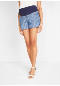 Niebieskie spodnie bonprix moda ciążowa, w paski, sportowe