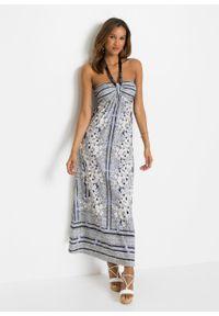 Sukienka bandeau bonprix biel wełny - czarny w kwiaty. Kolor: biały. Materiał: wełna. Długość rękawa: na ramiączkach. Wzór: kwiaty. Długość: maxi