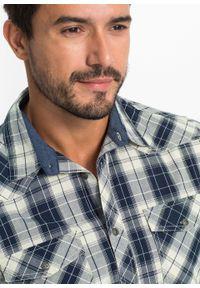 Koszula z krótkim rękawem bonprix naturalno-ciemnoniebieski w kratę. Kolor: beżowy. Długość rękawa: krótki rękaw. Długość: krótkie