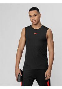 Czarna koszulka sportowa 4f na fitness i siłownię, bez rękawów
