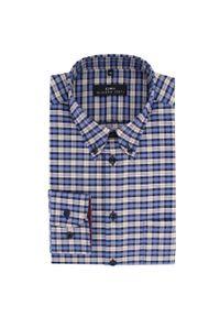 Niebieska koszula Giacomo Conti button down, długa, w kolorowe wzory, z długim rękawem
