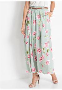 Spódnica maxi z paskiem bonprix miętowy w kwiaty. Kolor: niebieski. Długość: długie. Wzór: kwiaty