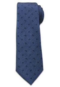 Stylowy Krawat Męski w Drobny Wzór Paisley -6,5cm- Chattier, Granatowy. Kolor: niebieski. Materiał: tkanina. Wzór: paisley. Styl: elegancki