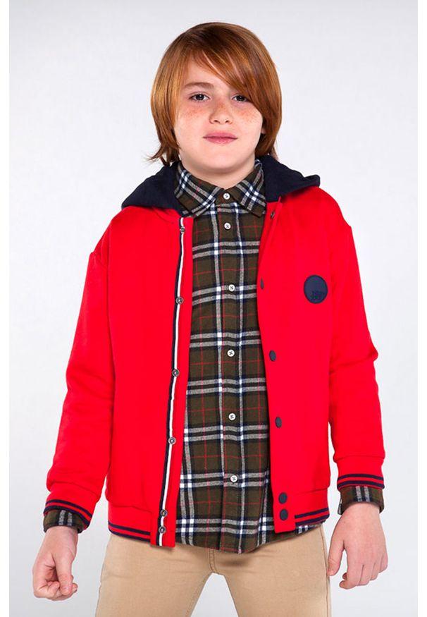 Czerwona bluza rozpinana Mayoral na co dzień, z kapturem, casualowa