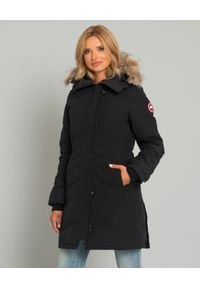 CANADA GOOSE - Czarna kurtka Lorette. Kolor: czarny. Materiał: futro, materiał, wełna. Wzór: aplikacja. Sezon: zima. Styl: klasyczny, elegancki