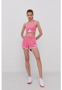 adidas Performance - Szorty. Okazja: na co dzień. Kolor: różowy. Materiał: tkanina, materiał. Wzór: gładki. Styl: casual