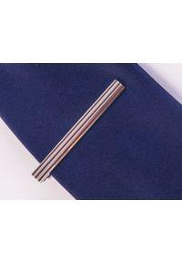 Adam Collection - Srebrne spinki do krawata z brązowymi paskami ZS27. Kolor: srebrny, brązowy, wielokolorowy