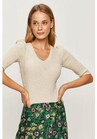 Oliwkowy sweter Morgan krótki, z krótkim rękawem