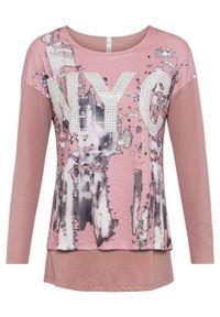 Różowa bluzka bonprix z nadrukiem, długa, z długim rękawem