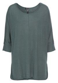 Sweter dzianinowy z rękawami 3/4 bonprix zielony eukaliptusowy. Kolor: zielony. Materiał: dzianina. Styl: elegancki