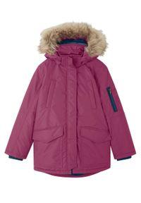 Fioletowy płaszcz bonprix z kapturem, casualowy