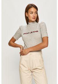Szara bluzka DKNY z golfem, z krótkim rękawem