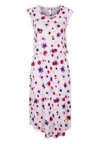 Sukienka z dżerseju z rękawami z falban bonprix biały w kwiaty. Kolor: biały. Materiał: jersey. Wzór: kwiaty