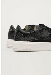 Czarne sneakersy Guess Jeans z okrągłym noskiem, na sznurówki, z cholewką