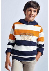 Pomarańczowa bluza Mayoral casualowa, z kapturem, na co dzień, z nadrukiem