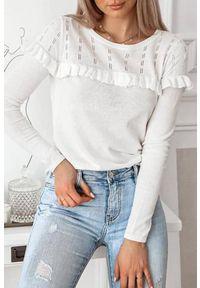 Biała bluzka IVET w kolorowe wzory, na co dzień, casualowa, z falbankami