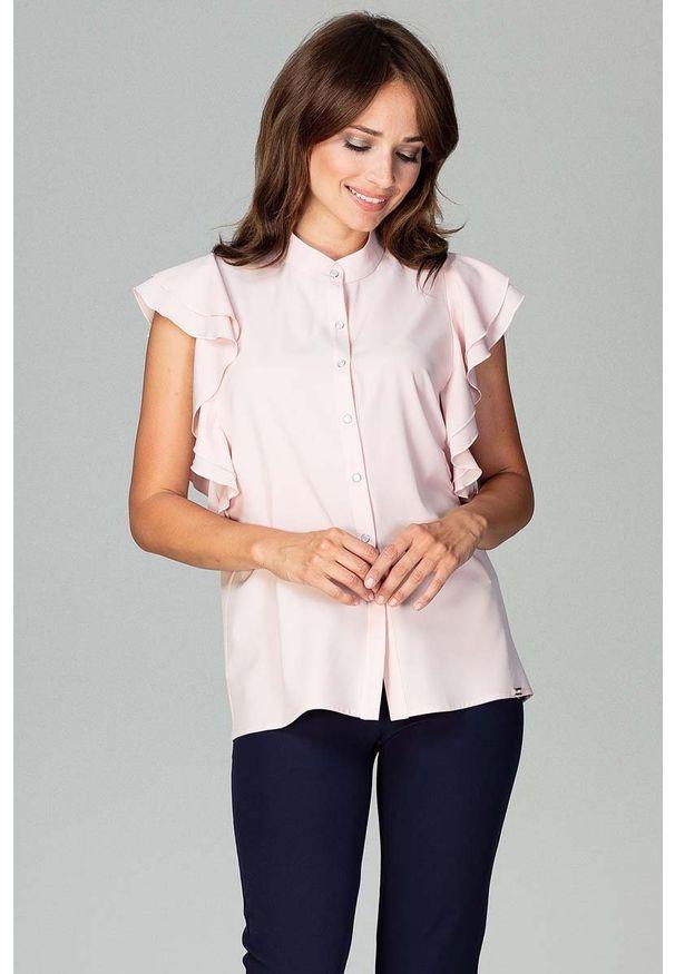 Katrus - Różowa Koszulowa Bluzka z Falbankowym Rękawem. Kolor: różowy. Materiał: elastan, poliester