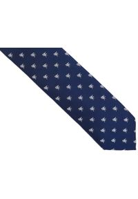 Adam Collection - Granatowy krawat męski w ptaszki D252. Kolor: niebieski. Materiał: tkanina, mikrofibra
