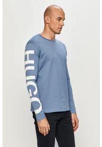 Niebieska koszulka z długim rękawem Hugo casualowa, na co dzień, z nadrukiem