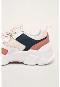 Różowe buty sportowe TOMMY HILFIGER z okrągłym noskiem, na sznurówki, z cholewką