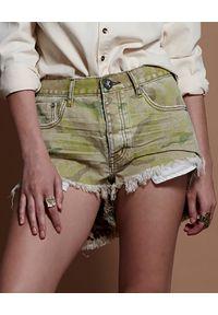 ONETEASPOON - Spodenki moro Le Wolves. Stan: obniżony. Kolor: zielony. Materiał: jeans. Wzór: moro. Styl: rockowy